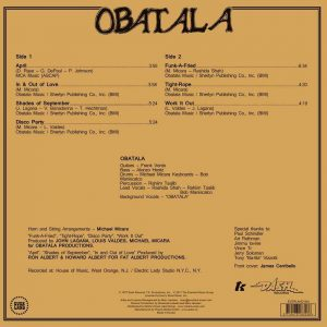 Obatala LP CD back cover