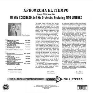 Manny Corchado & His Orchestra Featuring Tito Jimenez - Aprovecha El Tiempo LP CD back cover