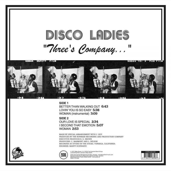 "Disco Ladies - ""Three's Company..."" LP CD back cover"