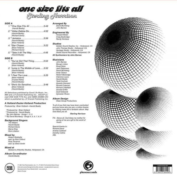Sterling Harrison One Size Fits All LP CD back cover