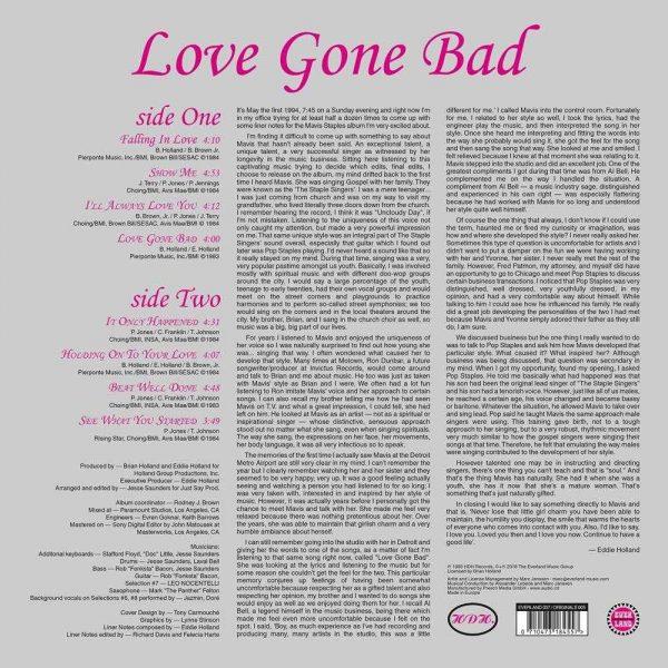Mavis Staples Love Gone Bad LP CD back cover