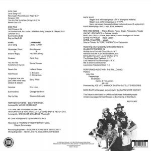 Back East - Day By Day LP CD back cover